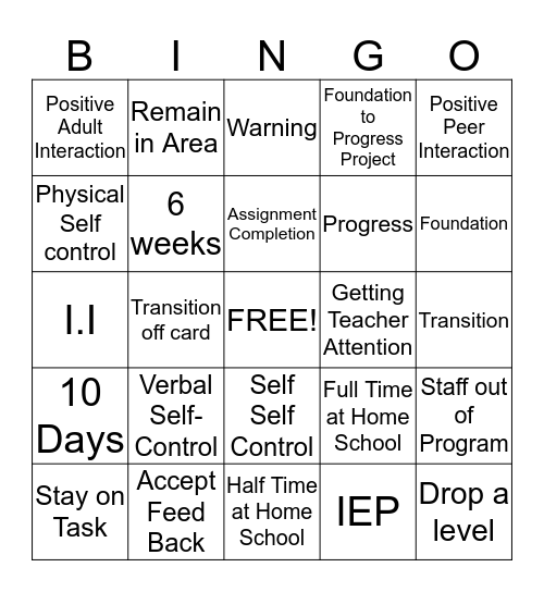 Learning Interaction/ Progress Bingo Card