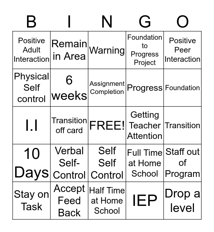 Learning Interaction/ Progress Bingo Card