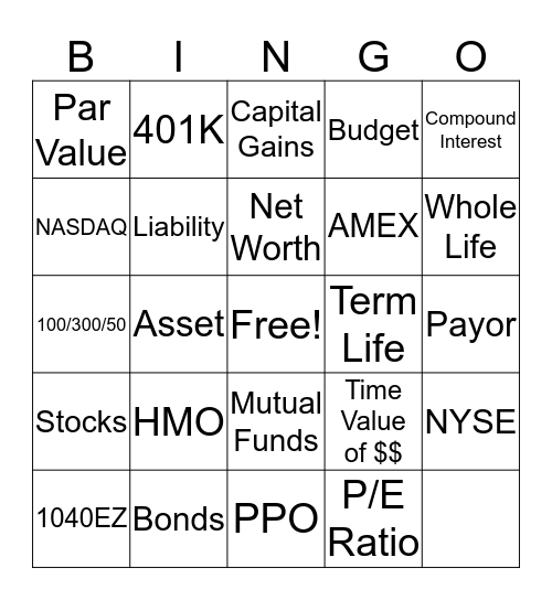 Welcome to Personal Finance! Bingo Card