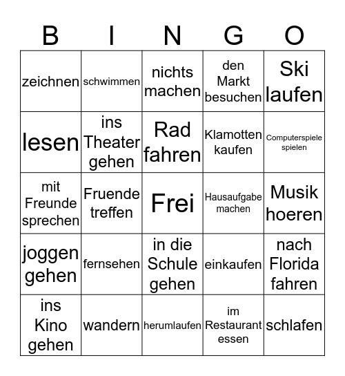 Freizeit Aktivitaeten Bingo Card