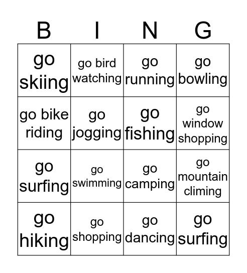 go Ving Bingo Card