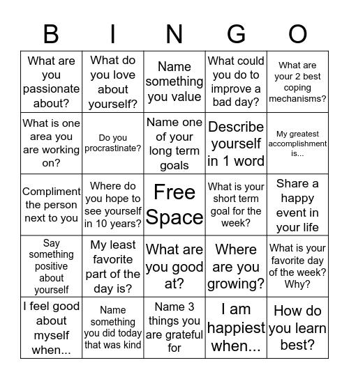 Positivity Bingo  Bingo Card