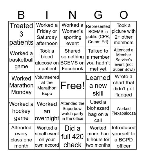 BCEMS Bingo Card