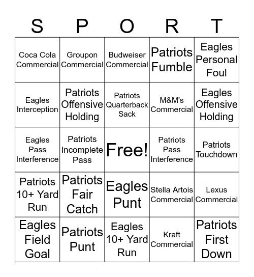 2018 Super Bowl! Bingo Card