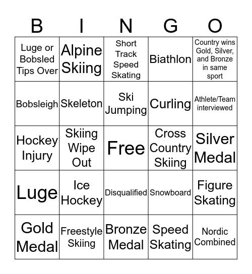 Aspect Winter Olympics Bingo Card