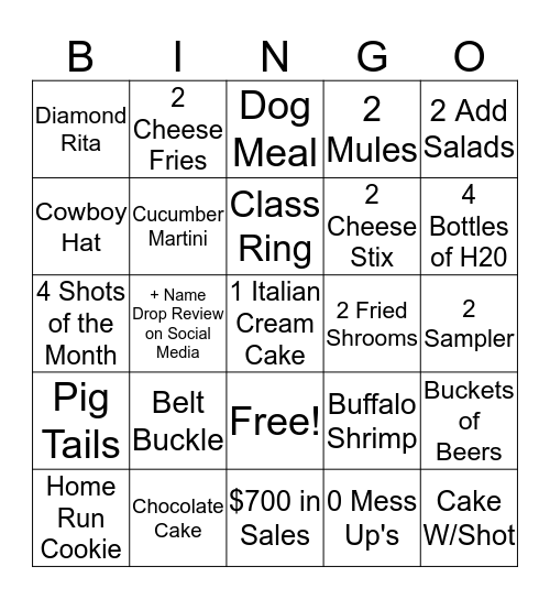 Sammy's Bingo Card