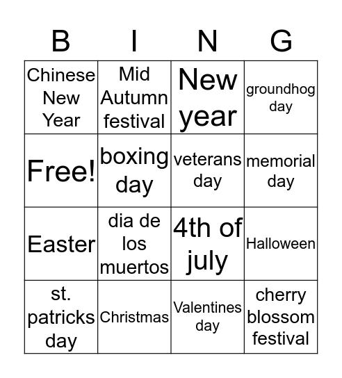 Fesstivals Bingo Card