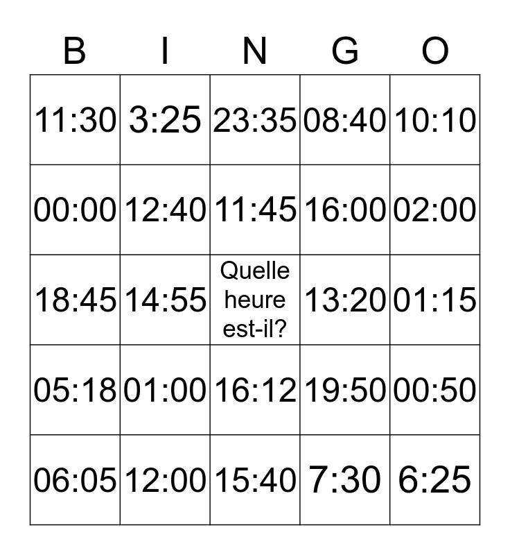 Quelle heure est-il? Bingo Card