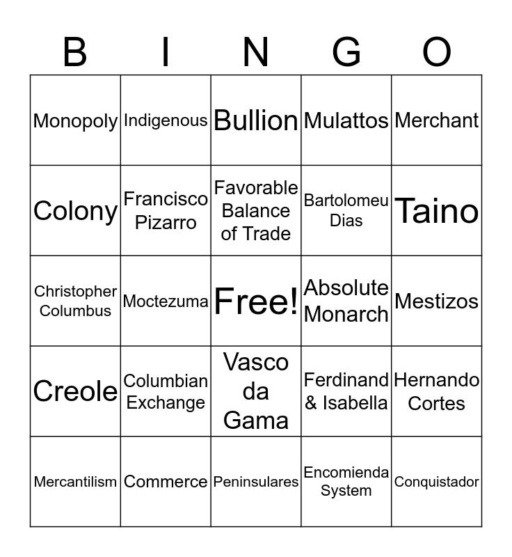 New World Bingo Card