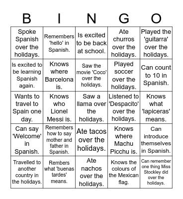 Year 8: Find someone who... Bingo Card