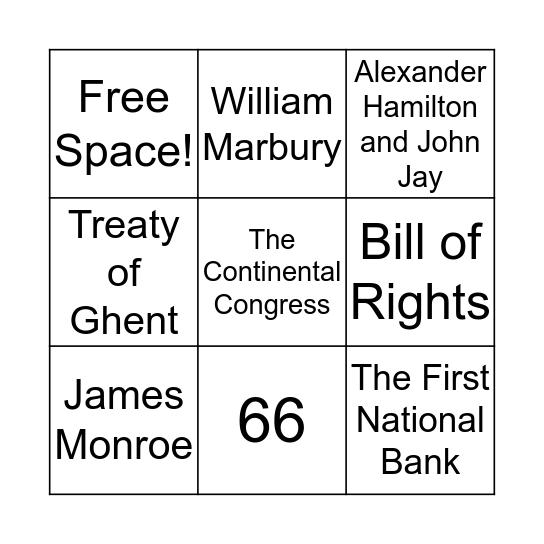 James Madison Bingo Card