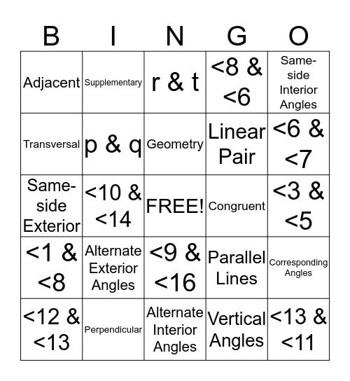 Transversal Bingo Card
