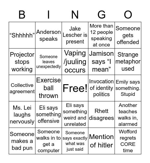 TOK Bingo Card