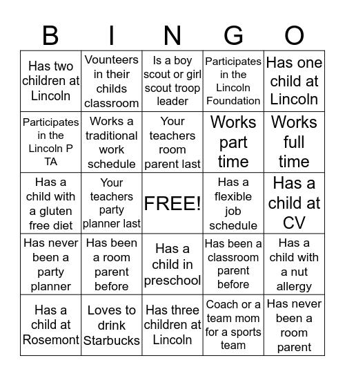 Room Parent Bingo Card
