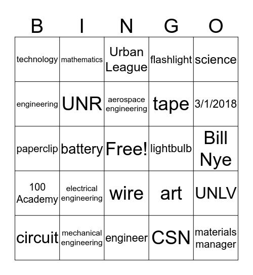 NSBE STEAM Word Review Bingo Card