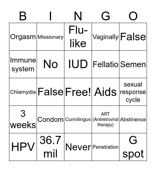 Wet Dreams Bingo Card