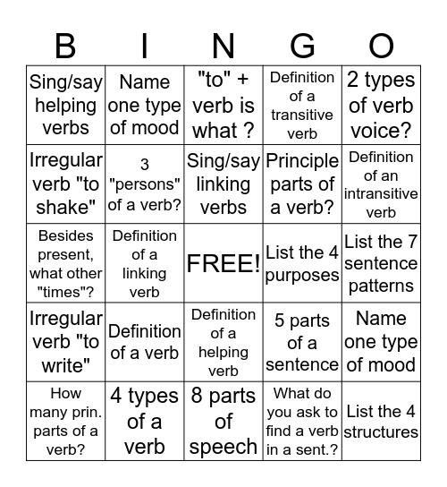 Verb Bingo Card