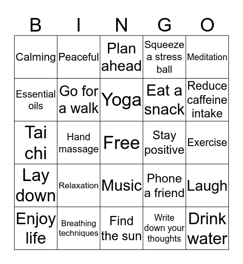 Stress Free Bingo Card