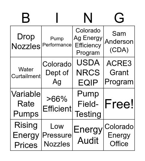 Ag Energy Efficiency Bingo Card
