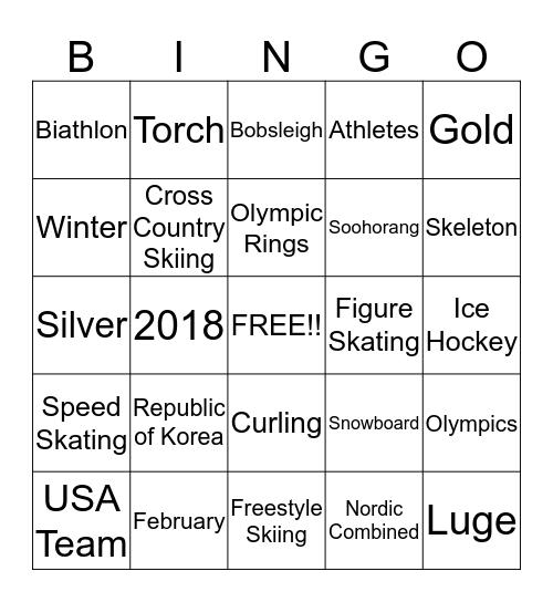 Winter Olympics Bingo Card