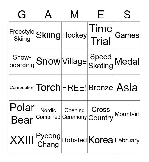 Bobsled Bingo Card