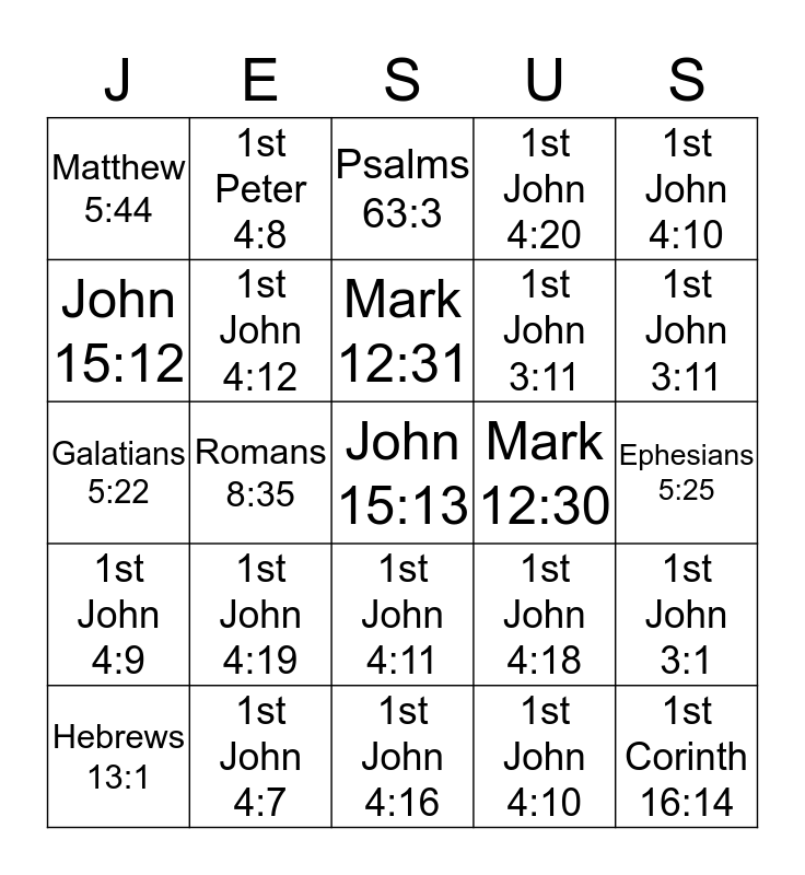 Greater Love-Bible Bingo Card