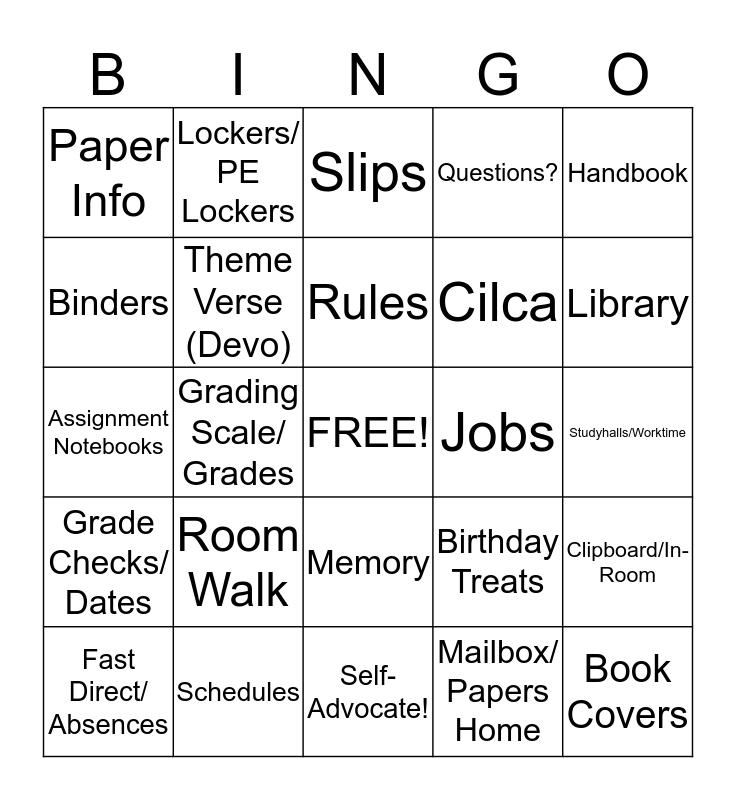 First Days of School Bingo Card
