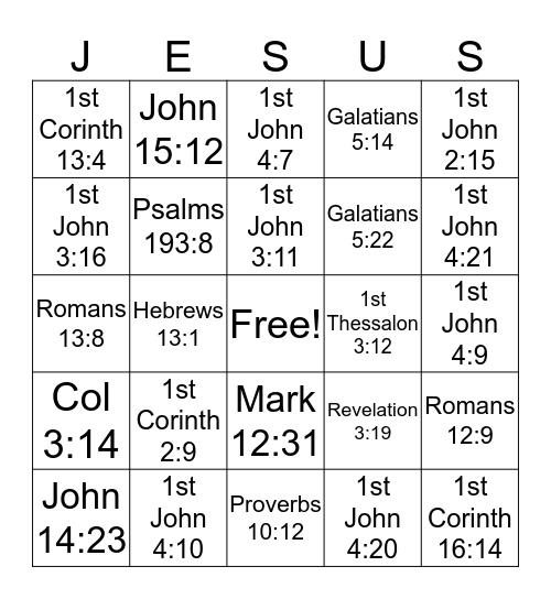 Greater Love Bible Bingo Card