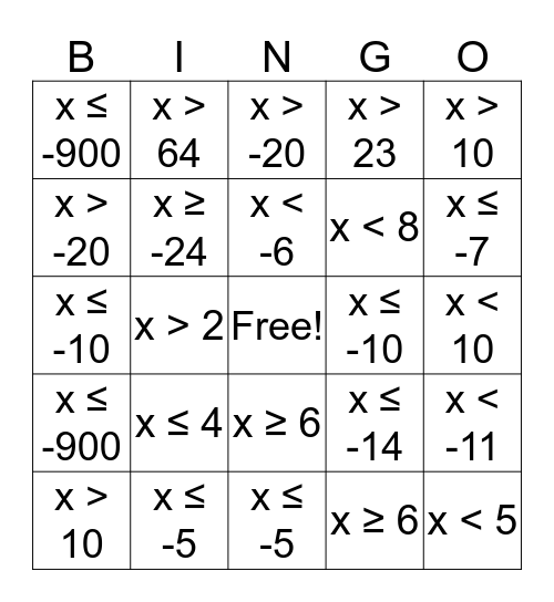 Inequalitiy Bingo Card
