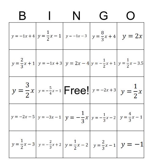 Slope Intercept Form Equations Bingo Card