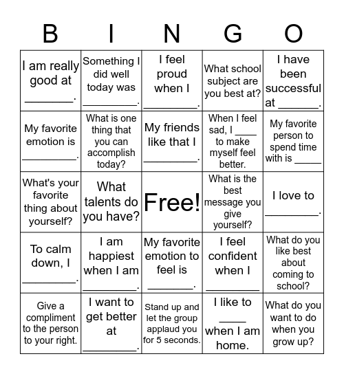 SELF-ESTEEM BINGO Card