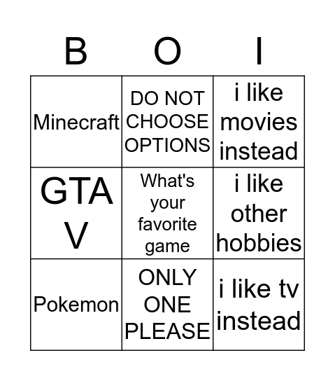 take a screenshot and send it to me  Bingo Card