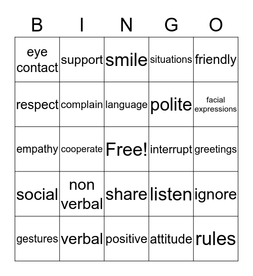 Social Issues and Communication Bingo Card