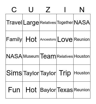 COUSINS FAMILY REUNION-2018 Bingo Card
