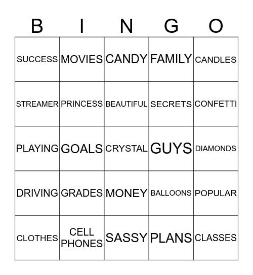 CRYSTAL SWEET 16 Bingo Card
