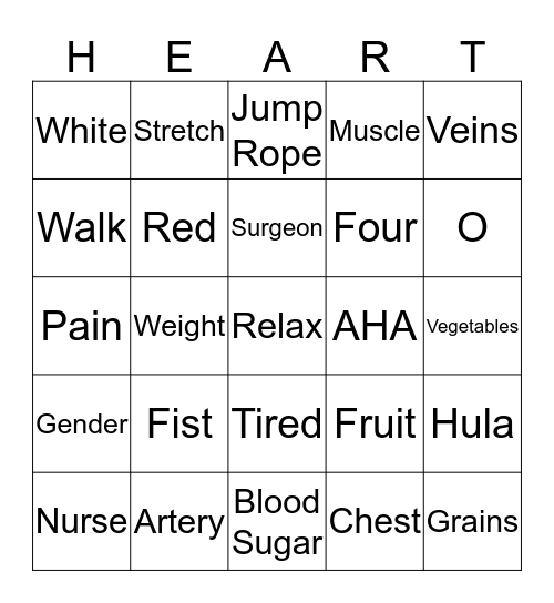 GO Red Bingo Card