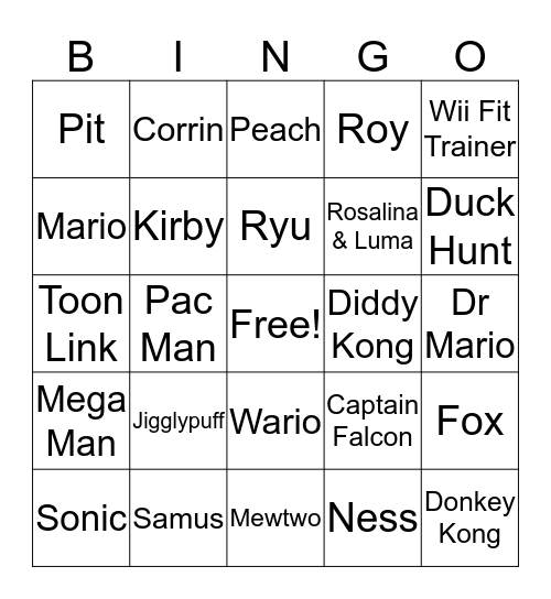 Smash Bros Bingo Card