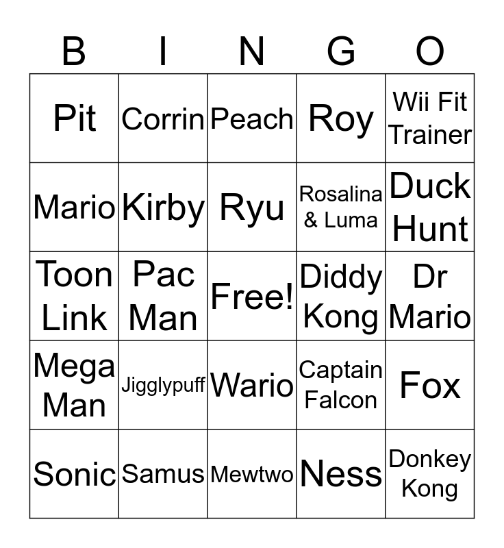 Smash Bros Bingo Card
