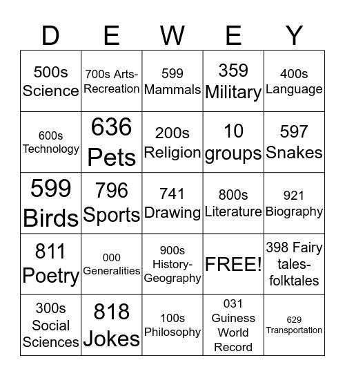 Dewey Decimal System Bingo Card