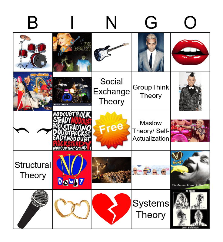 No Doubt  Bingo Card
