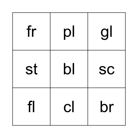 Consonant Cluster Bingo Card