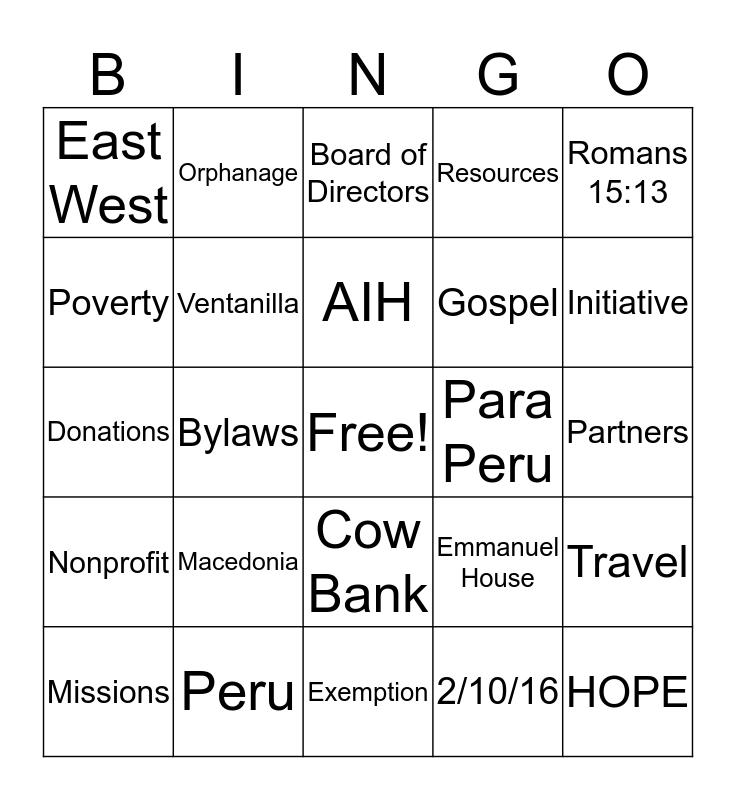 The AIH Initiative BINGO Card