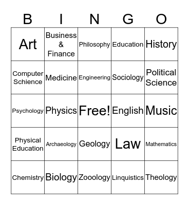 School Subjects Bingo Card