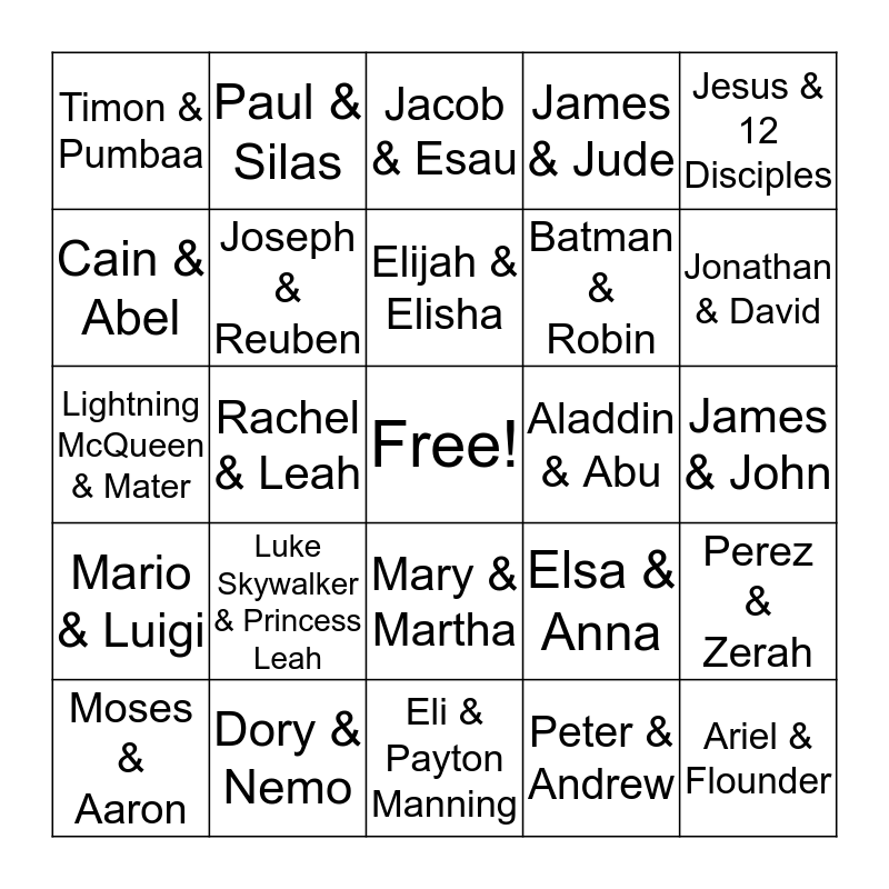 Siblings & Friends Bingo Card