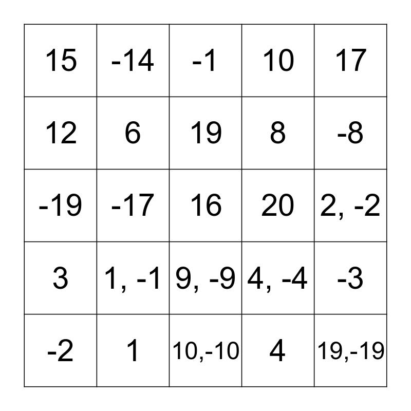 Square Root Bingo Card