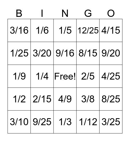 Valentine's Day Multiplying Fractions Bingo Card