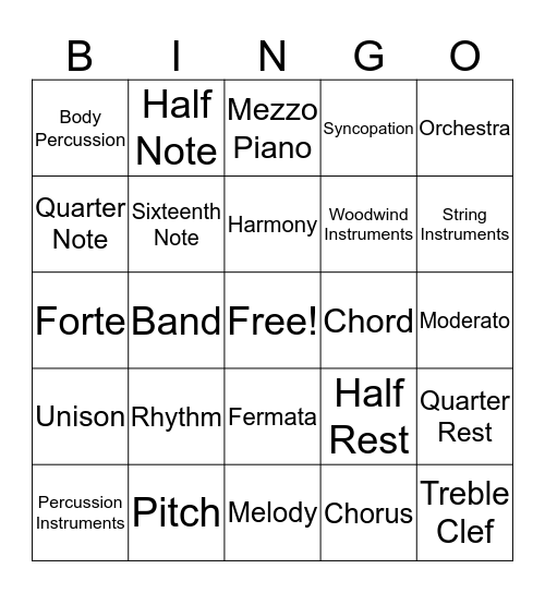 Fifth Grade Music Bingo! Bingo Card