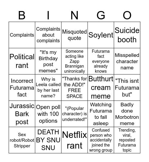 Futurama Fan Group Bingo Card