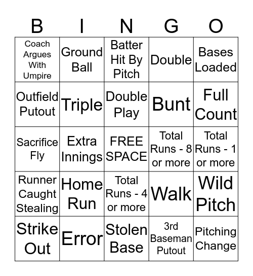 UNA Baseball Bingo Card