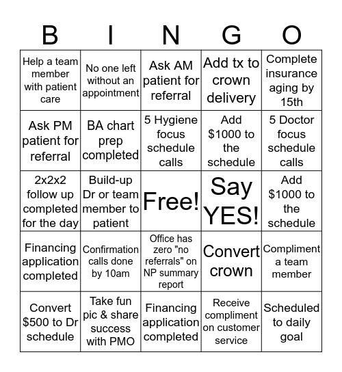 Business Assistant Bingo Card